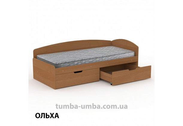 фото односпальная кровать 90+2С с бельевыми ящиками для хранения и бортиком в цвете ольха дешево от производителя с доставкой по всей Украине.