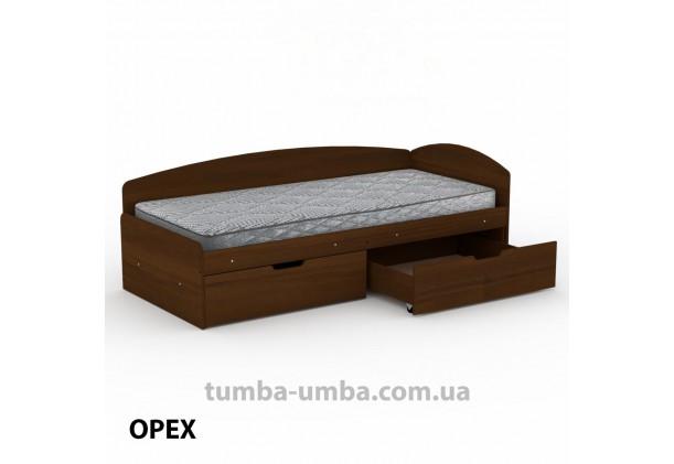 фото односпальная кровать 90+2С с бельевыми ящиками для хранения и бортиком в цвете орех экко дешево от производителя с доставкой по всей Украине.