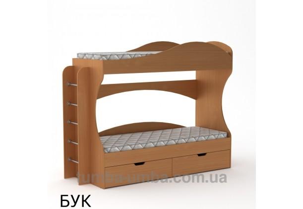 Фото двухместная кровать для детей Бриз Компанит с бортиками и ящиками в цвете бук дешево от производителя с доставкой по всей Украине