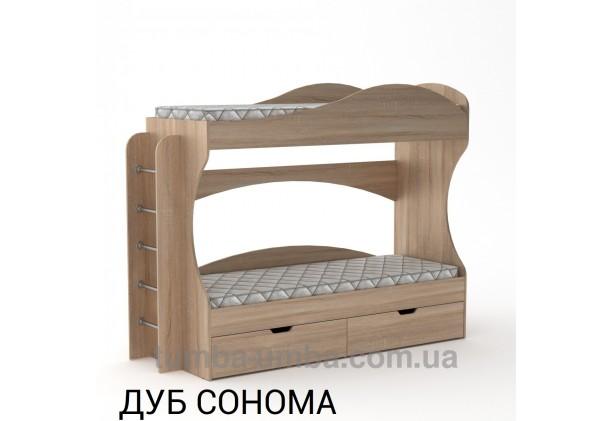 Фото двухместная кровать для детей Бриз Компанит с бортиками и ящиками в цвете дуб сонома дешево от производителя с доставкой по всей Украине