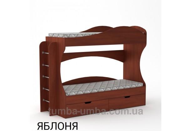 Фото двухместная кровать для детей Бриз Компанит с бортиками и ящиками в цвете яблоня дешево от производителя с доставкой по всей Украине