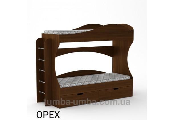 Фото двухместная кровать для детей Бриз Компанит с бортиками и ящиками в цвете Орех Экко дешево от производителя с доставкой по всей Украине