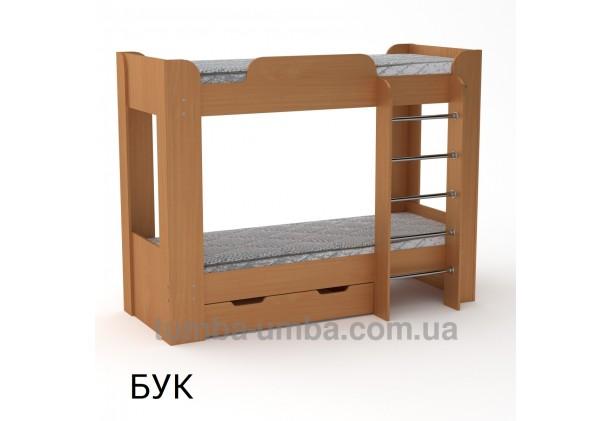 Фото двухместная кровать для детей Твикс-2 Компанит с бортиками и ящиками в цвете бук дешево от производителя с доставкой по всей Украине
