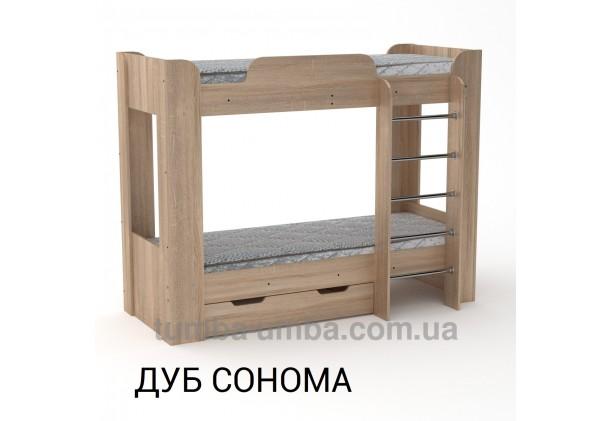 Фото двухместная кровать для детей Твикс-2 Компанит с бортиками и ящиками в цвете дуб сонома дешево от производителя с доставкой по всей Украине