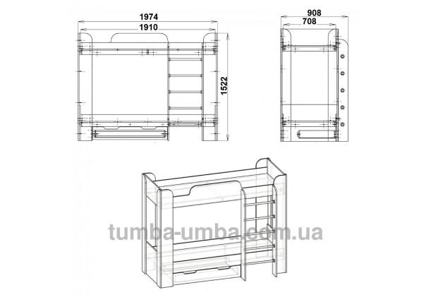 Фото двухместная кровать для детей Твикс-2 Компанит  с бортиками и ящиками размеры дешево от производителя с доставкой по всей Украине