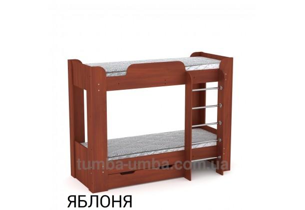 Фото двухместная кровать для детей Твикс-2 Компанит с бортиками и ящиками в цвете яблоня дешево от производителя с доставкой по всей Украине