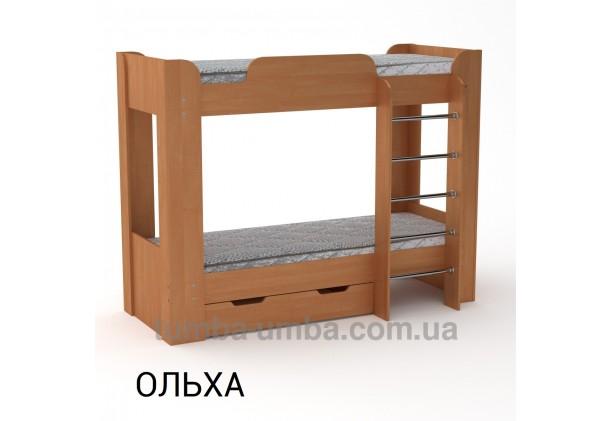 Фото двухместная кровать для детей Твикс-2 Компанит с бортиками и ящиками в цвете ольха дешево от производителя с доставкой по всей Украине