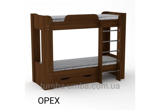Фото двухместная кровать для детей Твикс-2 Компанит с бортиками и ящиками в цвете орех экко дешево от производителя с доставкой по всей Украине