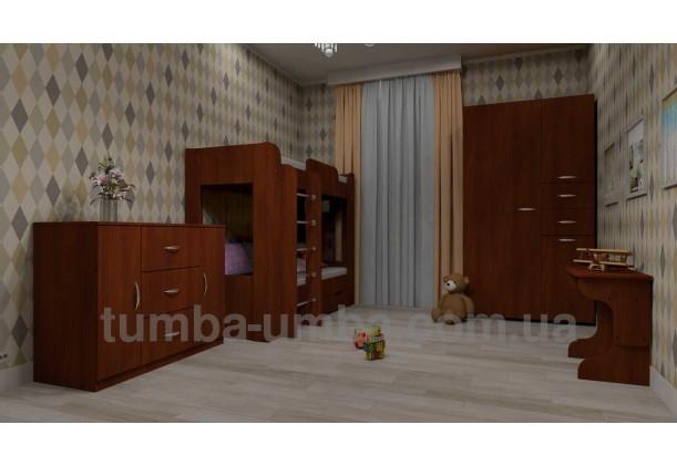Фото двухместная кровать для детей Твикс-2 Компанит  с бортиками и ящиками в интерьере детской дешево от производителя с доставкой по всей Украине
