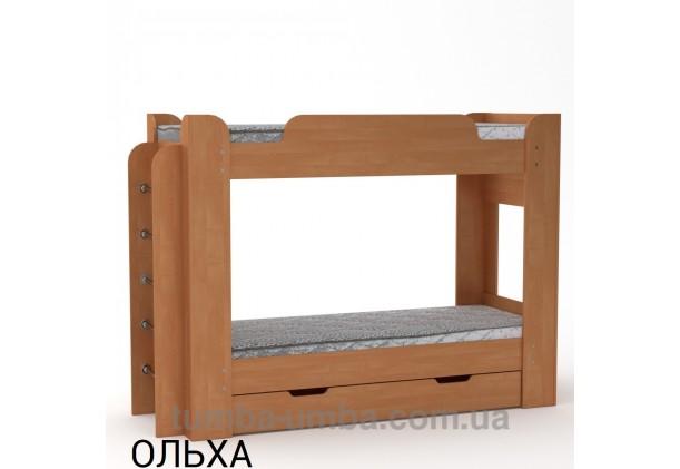 Фото двухместная кровать для детей Твикс Компанит с бортиками и ящиками в цвете ольха дешево от производителя с доставкой по всей Украине