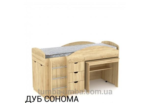 Фото недорогая детская двухъярусная кровать-чердак Универсал Компанит с рабочей зоной со столом внизу в цвете дуб сонома дешево от производителя с доставкой по всей Украине