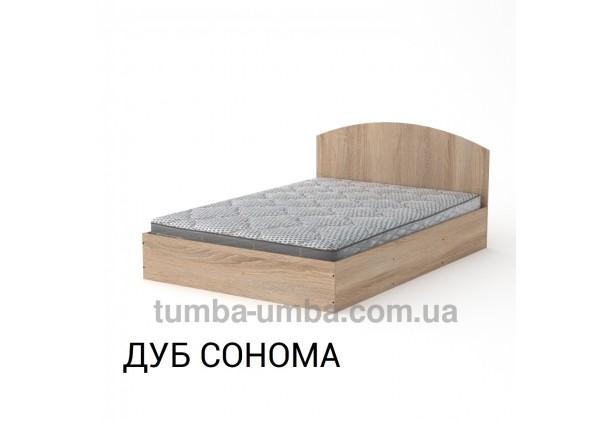 фото стандартная кровать 140 см с нишей для хранения Компанит в спальню, на дачу или для общежития в цвете дуб сонома дешево от производителя с доставкой по всей Украине