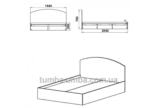 фото стандартная кровать 140 см Компанит с нишей для хранения в спальню, на дачу или для общежития размеры дешево от производителя с доставкой по всей Украине