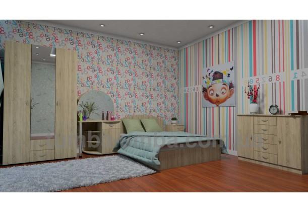 фото стандартная кровать 140 см с нишей для хранения Компанит в спальне дешево от производителя с доставкой по всей Украине