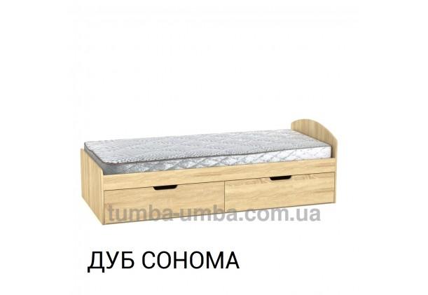 фото односпальная кровать 90+2 с бельевыми ящиками для хранения в цвете дуб сонома дешево от производителя с доставкой по всей Украине.