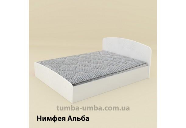фото стандартная кровать Нежность-140 МДФ с нишей для хранения Компанит в спальню, на дачу или для общежития в цвете Нимфея Альба (белый структурный) дешево от производителя с доставкой по всей Украине