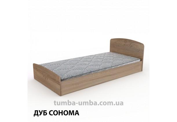 фото стандартная кровать Нежность-90 МДФ с нишей для хранения Компанит в спальню, на дачу или для общежития в цвете дуб сонома дешево от производителя с доставкой по всей Украине