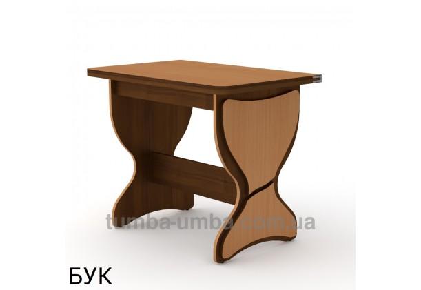 Фото недорогой простой стандартный раскладной обеденный стол КС-4 ДСП для дома в цвете бук дешево от производителя с доставкой по всей Украине
