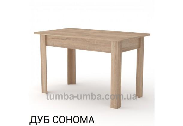 Фото недорогой простой стандартный раздвижной обеденный стол КС-5 ДСП для дома в цвете дуб сонома дешево от производителя с доставкой по всей Украине