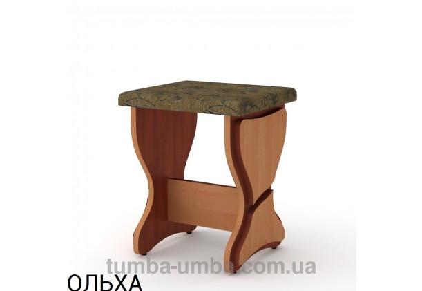 Фото недорогой стандартный кухонный табурет Т-3 ДСП с мягким сиденьем для дома и дачи в цвете ольха дешево от производителя с доставкой по всей Украине