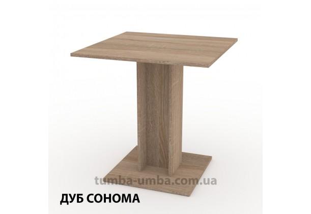 Фото недорогой простой стандартный нераскладной обеденный стол КС-7 ДСП для дома в цвете дуб сонома дешево от производителя с доставкой по всей Украине