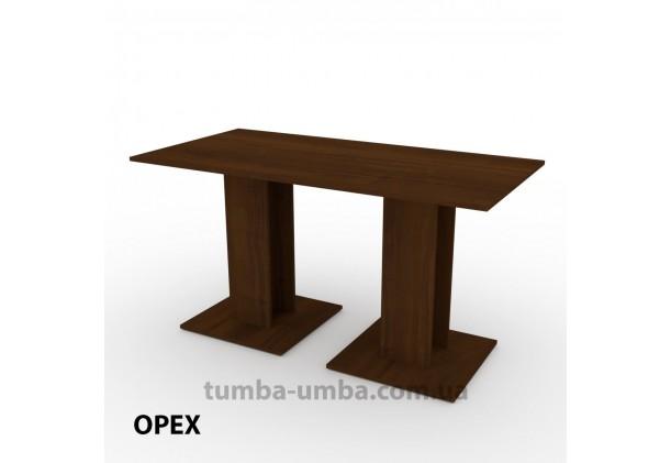 Фото недорогой простой стандартный нераскладной обеденный стол КС-8 ДСП для дома в цвете Орех Экко дешево от производителя с доставкой по всей Украине