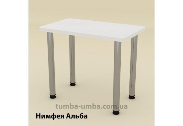 Фото недорогой простой стандартный нераскладной обеденный стол КС-9 ДСП для дома в цвете Нимфея Альба (белый структурный) дешево от производителя с доставкой по всей Украине