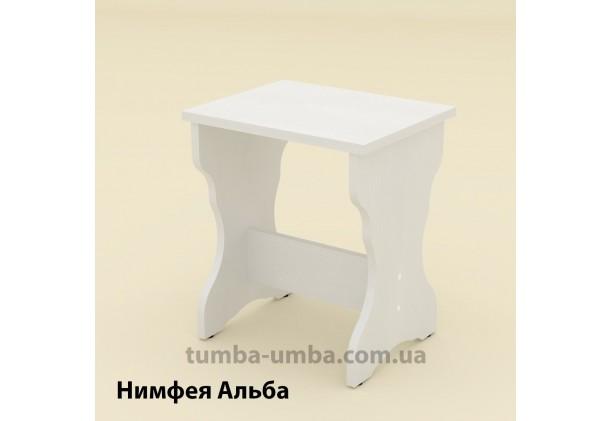 Фото недорогой простой стандартный кухонный табурет Т-5 ДСП для дома и дачи в цвете Нимфея Альба (белый структурный) дешево от производителя с доставкой по всей Украине