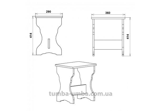 Фото размеры недорогого стандартного простого кухонного табурета Т-5 ДСП для дома и дачи дешево от производителя с доставкой по всей Украине