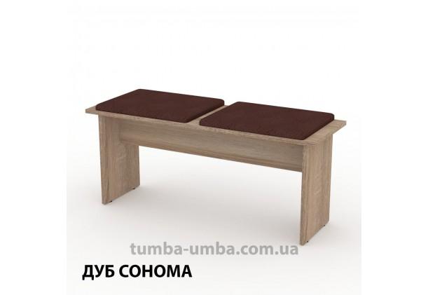 Фото недорогой стандартный кухонный длинный табурет-лавка Т-8 ДСП с мягким сиденьем для дома и дачи в цвете дуб сонома дешево от производителя с доставкой по всей Украине