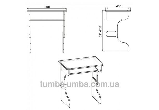 Фото схема с размерами готовый стандартный письменный стол-парта Малыш для дома ребенку для уроков дешево от производителя с доставкой по всей Украине