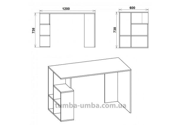 Фото схема с размерами готовый прямой стандартный стол Ученик-3 в офис, для ребенка, для дома или для учителя дешево от производителя с доставкой по всей Украине