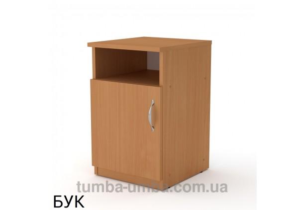 Фото недорогая стандартная прикроватная в спальню или офисная тумба под принтер и оргтехнику ПКТ-1 ДСП с нишей и дверцей в цвете бук дешево от производителя с доставкой по всей Украине