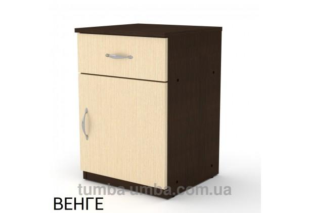 Фото недорогая стандартная прикроватная в спальню или офисная тумба под принтер и оргтехнику ПКТ-3 ДСП с ящиком и дверцей в цвете венге дешево от производителя с доставкой по всей Украине
