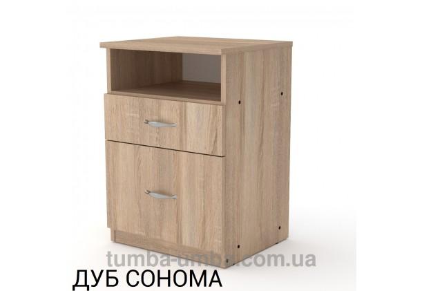 Фото недорогая стандартная прикроватная в спальню или офисная тумба под принтер и оргтехнику ПКТ-4 ДСП с нишей и ящиками в цвете дуб сонома дешево от производителя с доставкой по всей Украине