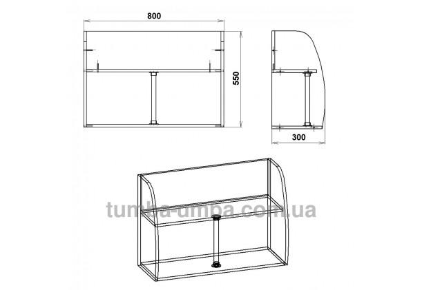 фото размеров недорогой настенной полки-11 ДСП Компанит для книг в гостинную, над столом, кухню или прихожую в интернет-магазине мебели эконом-класса TUMBA-UMBA™