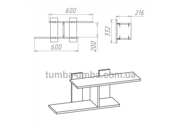 фото размеров недорогой настенной полки-18 ДСП Компанит для книг в гостинную, над столом, кухню или прихожую в интернет-магазине мебели эконом-класса TUMBA-UMBA™