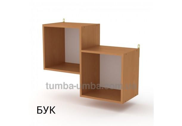 фото недорогая настенная полка-2 ДСП Компанит цвет бук для книг в гостинную, над столом, кухню или прихожую в интернет-магазине мебели эконом-класса TUMBA-UMBA™
