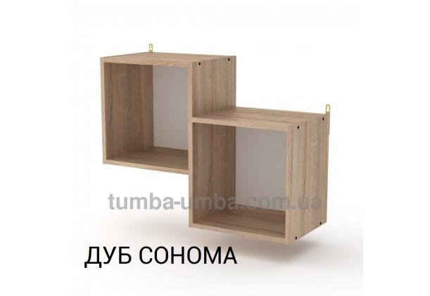 фото недорогая настенная полка-2 ДСП Компанит цвет дуб сонома для книг в гостинную, над столом, кухню или прихожую в интернет-магазине мебели эконом-класса TUMBA-UMBA™