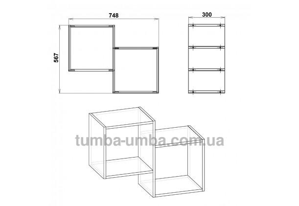 фото размеров недорогой настенной полки-2 ДСП Компанит для книг в гостинную, над столом, кухню или прихожую в интернет-магазине мебели эконом-класса TUMBA-UMBA™