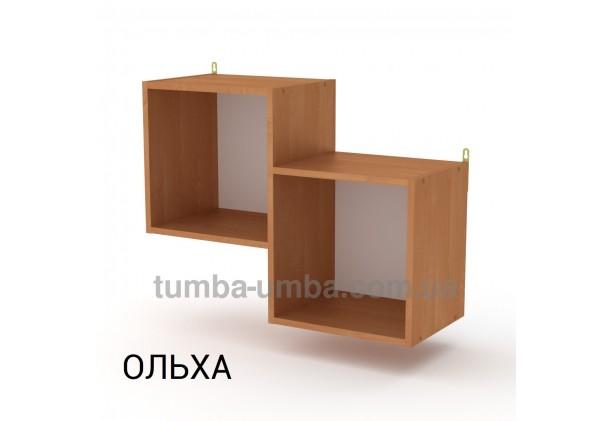 фото недорогая настенная полка-2 ДСП Компанит цвет ольха для книг в гостинную, над столом, кухню или прихожую в интернет-магазине мебели эконом-класса TUMBA-UMBA™