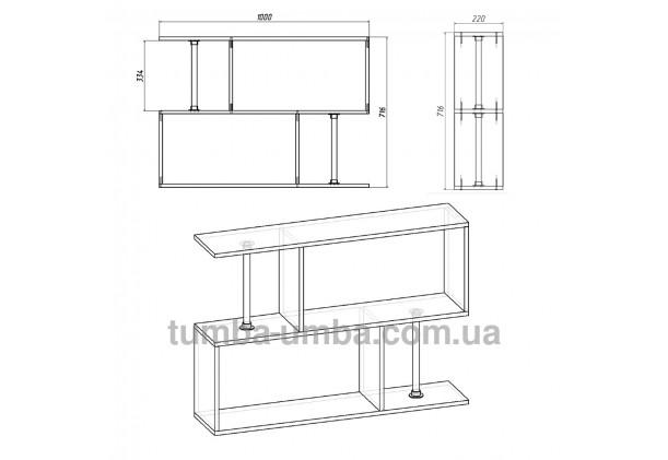 фото размеров недорогой настенной полки-9 ДСП Компанит для книг в гостинную, над столом, кухню или прихожую в интернет-магазине мебели эконом-класса TUMBA-UMBA™