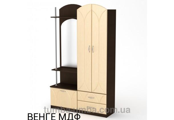 Фото готовая прихожая Валентина МДФ со шкафом и зеркалом в коридор в цвете венге дешево от производителя с доставкой по всей Украине
