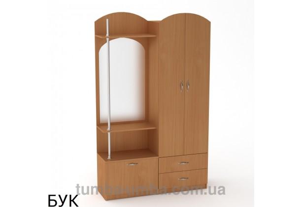 Фото готовая прихожая Валентина со шкафом и зеркалом в коридор в цвете бук дешево от производителя с доставкой по всей Украине