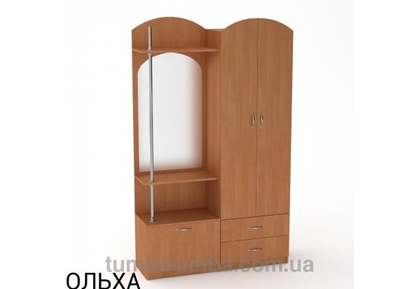 Фото готовая прихожая Валентина со шкафом и зеркалом в коридор в цвете ольха дешево от производителя с доставкой по всей Украине