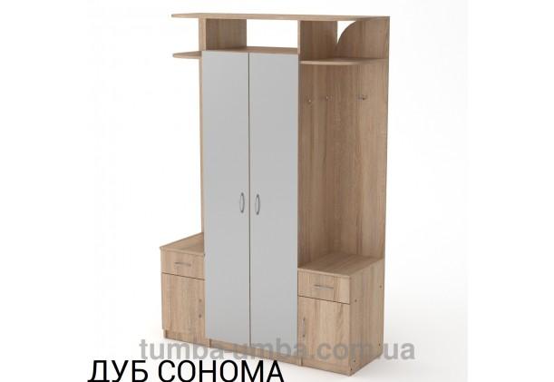Фото готовая прихожая Галина с зеркалами и шкафом в коридор в цвете дуб сонома дешево от производителя с доставкой по всей Украине