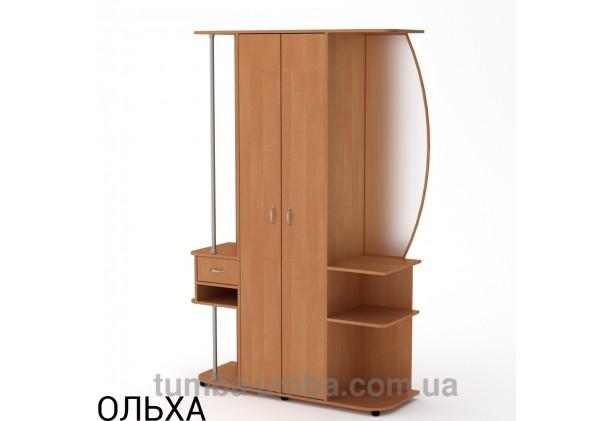 Фото готовая прихожая Елена со шкафом и зеркалом в коридор в цвете ольха дешево от производителя с доставкой по всей Украине