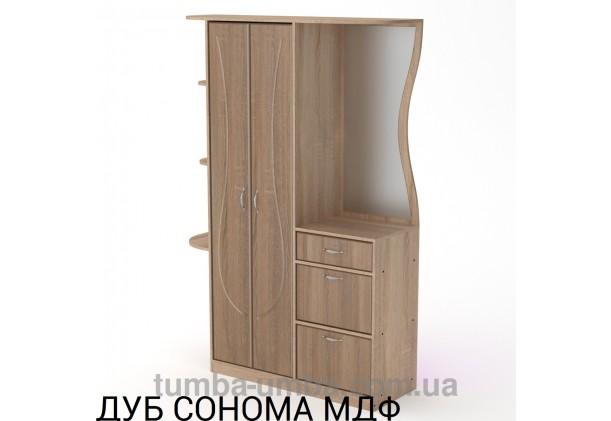 Фото готовая прихожая Людмила МДФ со шкафом и зеркалом в коридор в цвете дуб сонома дешево от производителя с доставкой по всей Украине