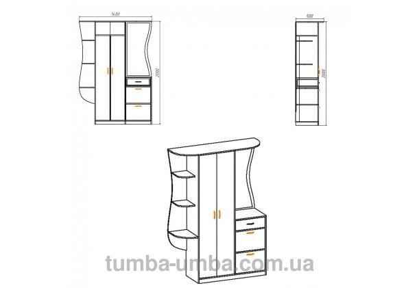 Фото размеры готовой прихожей Людмила МДФ со шкафом и зеркалом в коридор дешево от производителя с доставкой по всей Украине