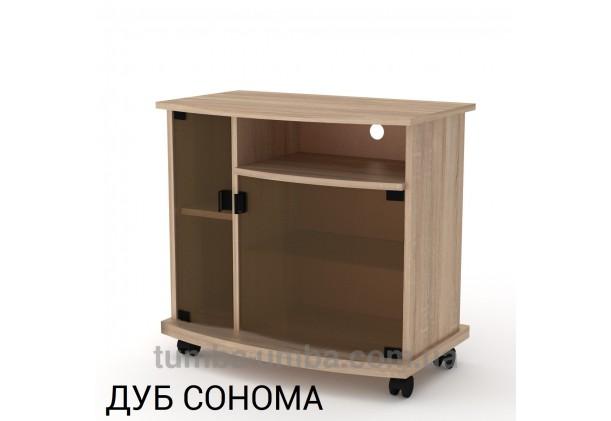 Фото недорогая современная напольная тумба под телевизор и аппаратуру Амбасадор-Нью ДСП в цвете Дуб Сонома дешево от производителя с доставкой по всей Украине